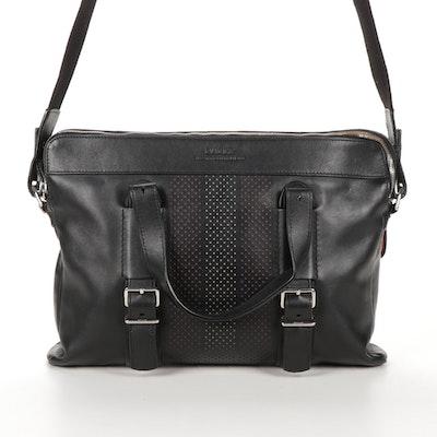 Bally Switzerland Black Leather Cross-Body Laptop Bag