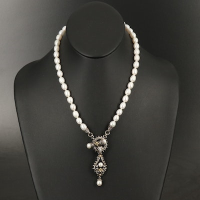 Barbara Bixby Sterling Pearl Pendant Necklace with 18K Accents