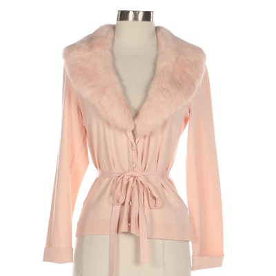 Nygård Collection Pink Knit Cardigan with Tie Belt and Rabbit Fur Collar