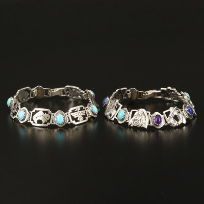 Sterling Panel Bracelets Including Amethyst, Lapis Lazuli and Turquoise