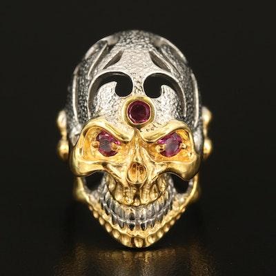Sterling Rhodolite Garnet Skull Ring