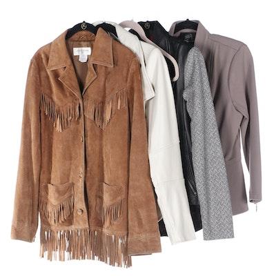 G.I.L.I. Moto Jackets and Skirt in Leather, Jones New York Suede Fringe Jacket