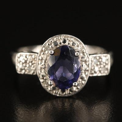 10K Iolite and Diamond Halo Ring