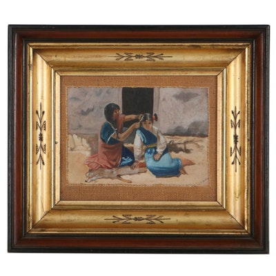 Watercolor Painting of Woman Combing Girl's Hair