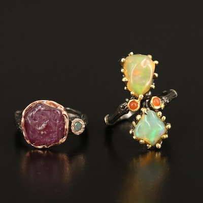 Sterling Rings Including Opal, Corundum and Carnelian