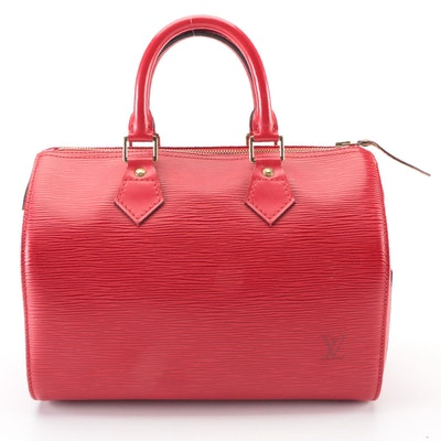 Louis Vuitton Speedy 25 Bag in Red Epi and Smooth Leather