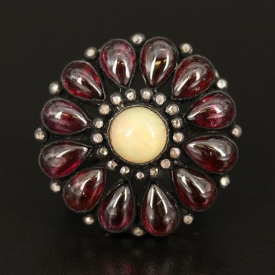 Sterling Opal, Diamond and Rhodolite Garnet Ring