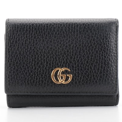 Gucci Marmont GG Medium Wallet in Black Pebble Grain Leather with Box