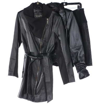 Iman Coat and Moto Jacket in Black Leather with Pleated Skirt in Faux Leather