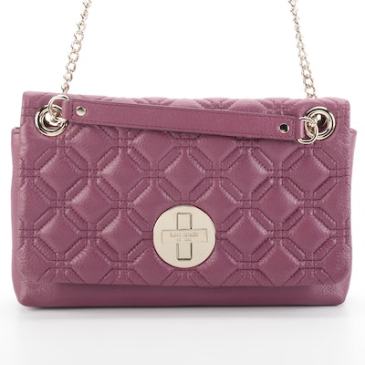 Kate Spade Astor Court Cynthia Shoulder Bag in Quilted Dark Fuchsia Leather