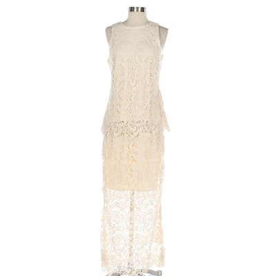 G.I.L.I. Guipure Style Lace Sleeveless Top and Skirt Sets