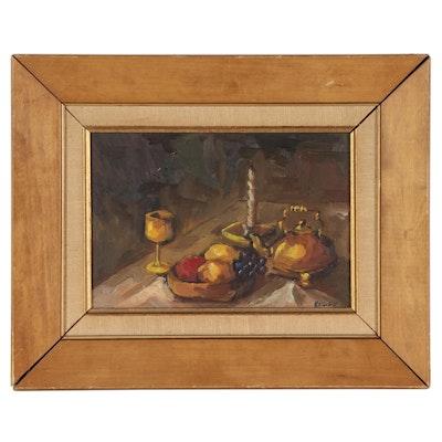 """Kelly Oil Painting """"Still Life - Sketch,"""" 1962"""
