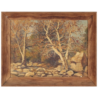 Impressionist Style Landscape Oil Painting, Early to Mid-20th Century