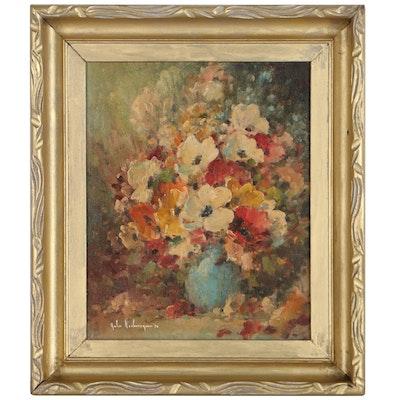 John Nachorny Floral Still Life Oil Painting, 1970