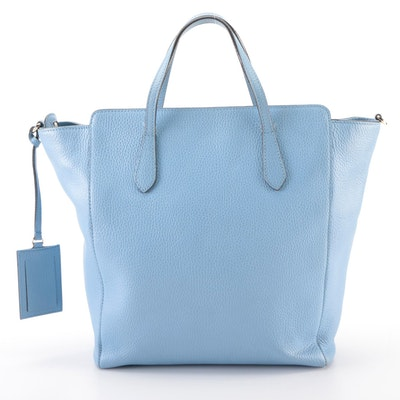 Gucci Zippered Tote Bag in Light Blue Pebbled Calfskin Leather