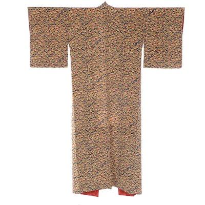 Maple Leaves and Foliates Patterned Chirimen Style Komon Kimono, Showa Period