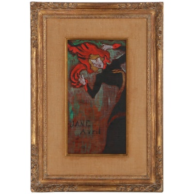 "Oil Painting After Henri de Toulouse-Lautrec ""Poster for Jane Avril"""