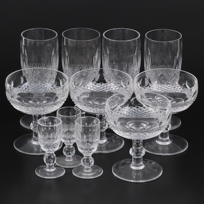 """Waterford Crystal """"Colleen"""" Champagne Coupes and Flutes with Sherry Glasses"""