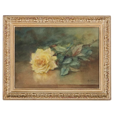 Mary Austin Oliver Still Life Watercolor Painting of Yellow Rose, 1914