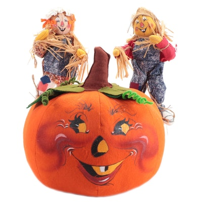 Annalee Pumpkin and Scarecrow Dolls, Late 20th Century