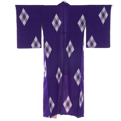 Kimono in Omeshi Silk Ikat Diamond Pattern, Shōwa Period