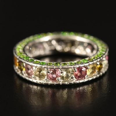 Sterling Tourmaline and Diopside Eternity Band