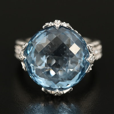 Judith Ripka Sterling Swiss Blue Topaz and Cubic Zirconia Ring
