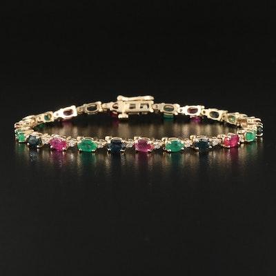 14K Ruby, Emerald, Sapphire and Diamond Bracelet