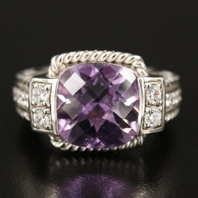 Judith Ripka Sterling Amethyst and Cubic Zirconia Ring