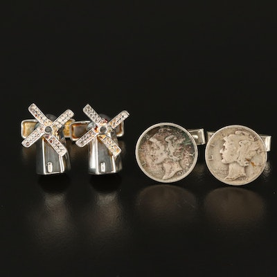 Sterling Silver Windmill and Mercury Dime Cufflinks