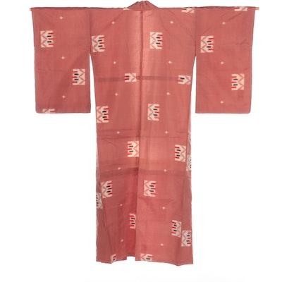 Woven Meisen Ikat Kimono, Circa Early Showa Period