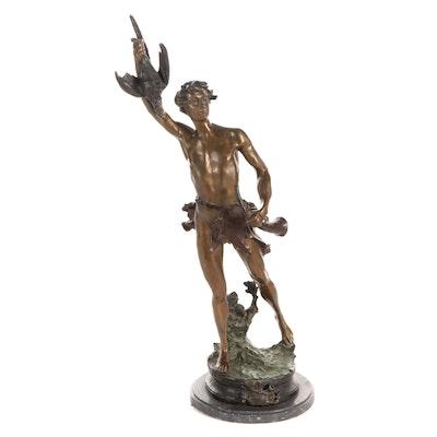 """Cast Bronze Sculpture after Adrien Etienne Gaudez """"Acteon"""""""