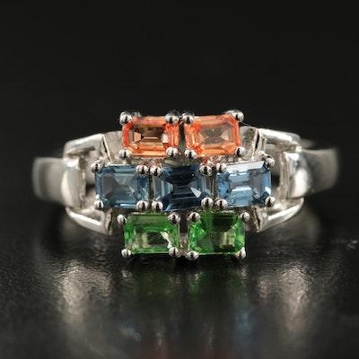 Sterling Sapphire and Tsavorite Multi-Row Ring