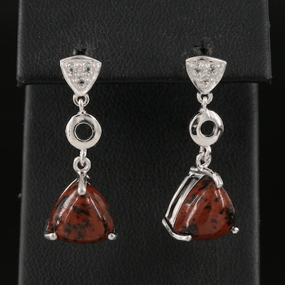 Sterling Mahogany Obsidian and White Topaz Drop Earrings