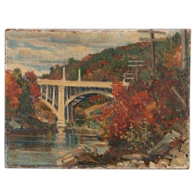 Oil Painting of Bridge in Autumn, Mid to Late 20th Century