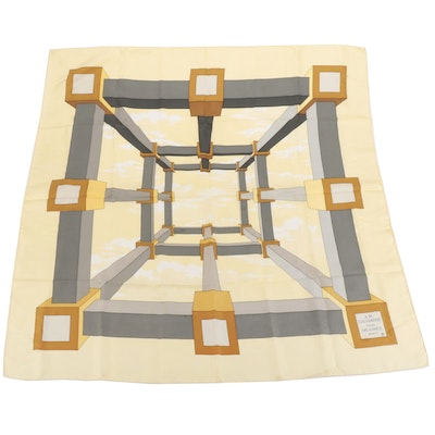 """Hermès Early Issue """"Perspective"""" Silk Twill Scarf"""
