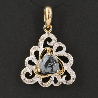 Sterling Silver Snowflake Obsidian and White Topaz Openwork Pendant