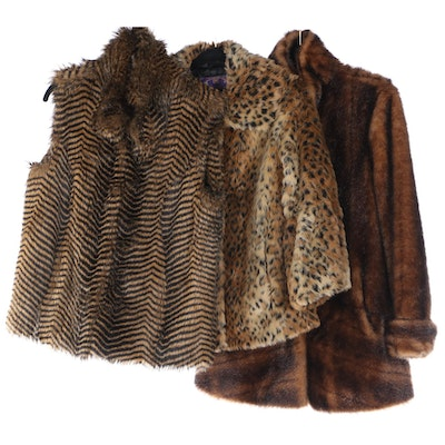 Curations Faux Fur Striped Vest, Spotted Jacket and Jacket