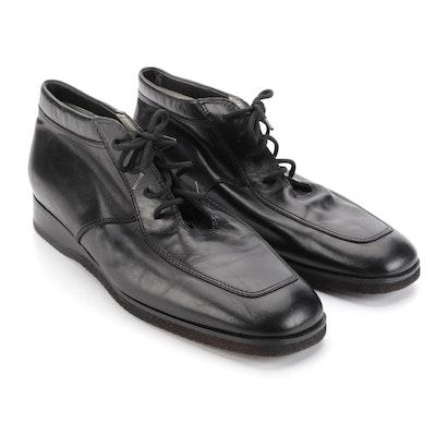 Greta Garbo Owned Pupi Camagna Black Leather Ankle Lace-Up Boots