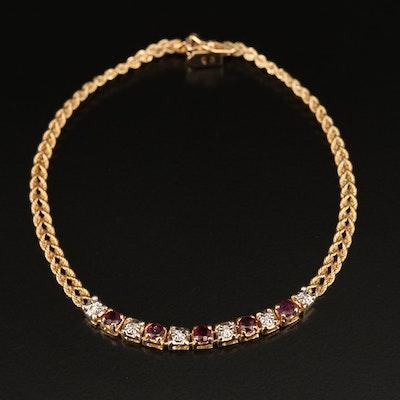10K Ruby and Diamond Bracelet
