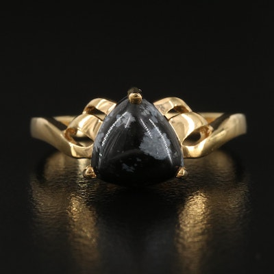 Sterling Silver Snowflake Obsidian Ring