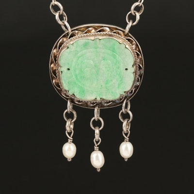 Sterling Carved Jadeite and Pearl Necklace