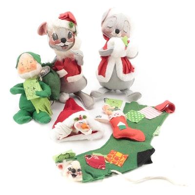 Annalee Mobilitee Mice, Elf, Stockings and Santa Doll Figurines