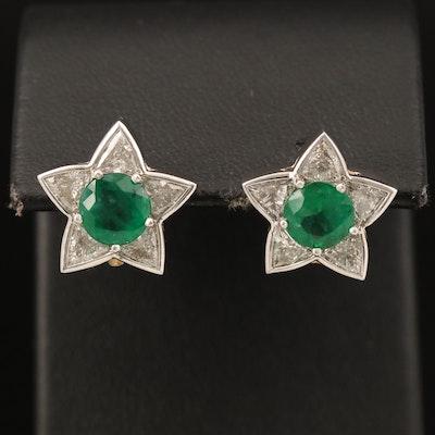Platinum Emerald and 2.20 CTW Diamond Star Earrings