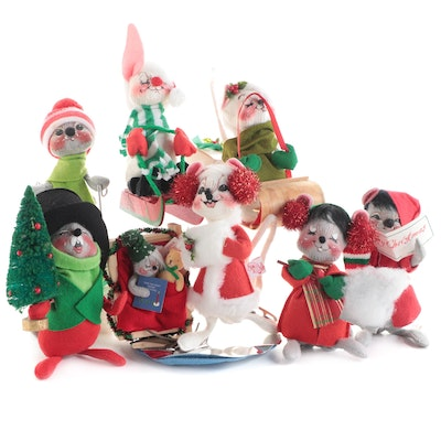 Annalee Mobilitee Christmas Mouse and Bunny Doll Figurines