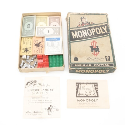 Parker Bros. Monopoly Popular Edition Pieces, Money, and Cards, Mid-20th Century