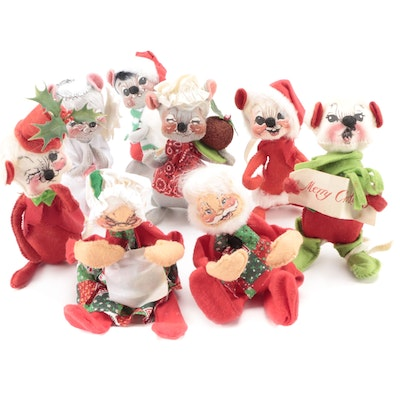Annalee Mobilitee Christmas Mice and Santa Claus Doll Figurines