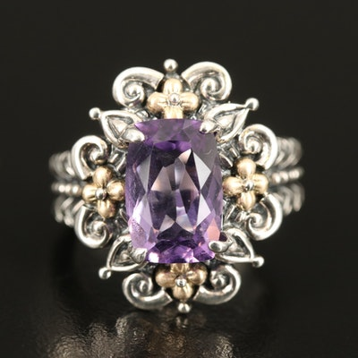Bixby Sterling Amethyst Ring with 18K Accents