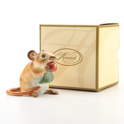 """Herend Guild Natural """"Meadow Mouse"""" Porcelain Figurine, 2008"""