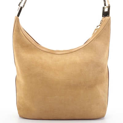 Gucci Hobo Shoulder Bag in Dark Tan Suede and Leather